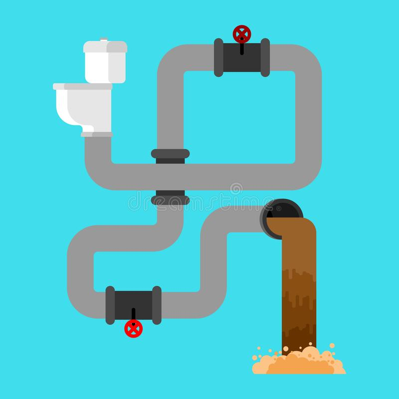 Sewage system. Toilet bowl and sewer. Wastewater. Vector illustration royalty free illustration