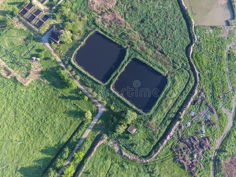Sewage treatment plant near the city sewage dump stock photo