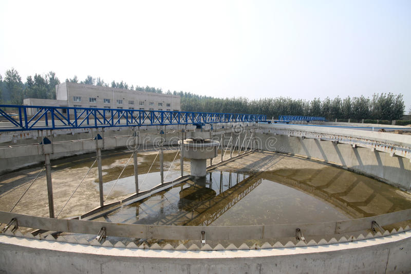 Sewage treatment works building facilities. In China royalty free stock photos