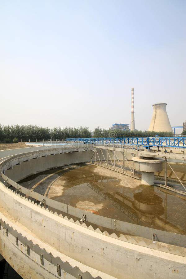Sewage treatment works building facilities. In China stock image
