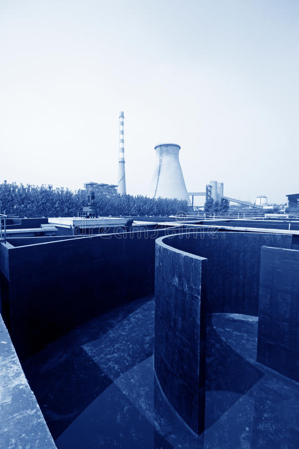 Sewage treatment works building facilities. In China stock photo