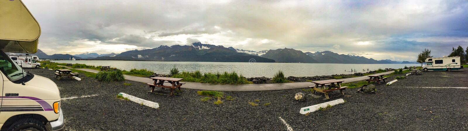 Seward Alaska - Kigluaik Mountains. Seward, Alaska, USA - Sept. 8, 2016: Spectacular RV camping spot in Seward, Alaska overlooking Resurrection Bay and the royalty free stock photo