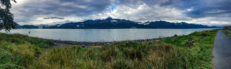 Seward Alaska. Seward, Alaska, USA - Sept. 8, 2016: Spectacular RV campinmg spot in Seward, Alaska overlooking Resurrection Bay and the Kigluaik Mountains royalty free stock photography