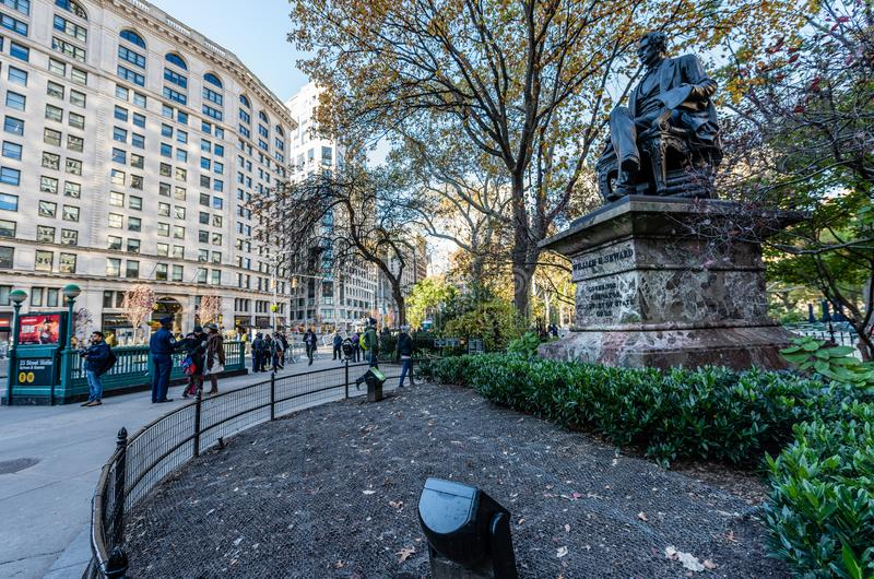 Seward Statue in Madison Square Park. A statue of William Henry Seward looks over New York City`s Manhattan streets in Madison Square Park stock images