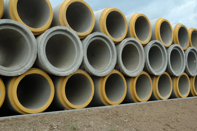 Sewer pipe. Concrete sewer pipe warehouse prepare to use stock images