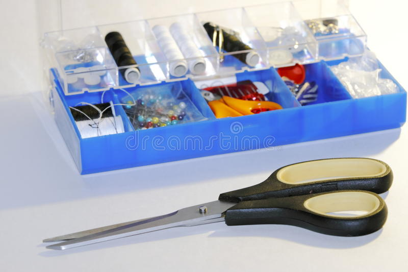 Sewing. Items, tools, scissors on a white background royalty free stock photos
