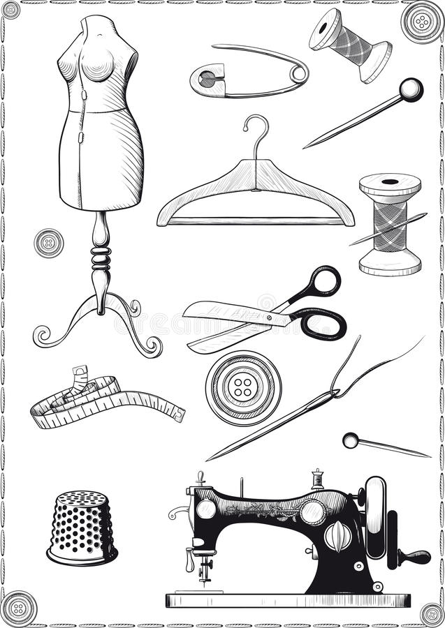 Sewing Accessories royalty free illustration