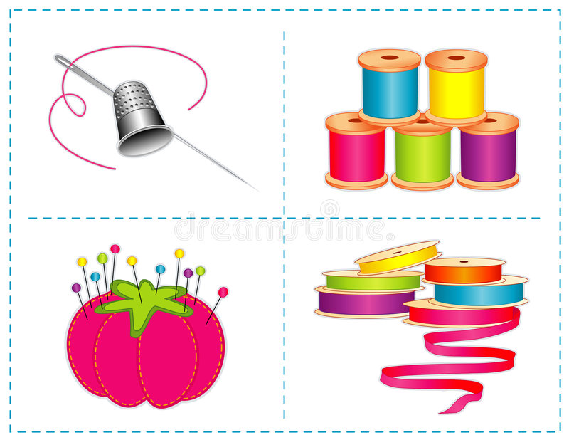 Sewing Accessories, Bright Colors Royalty Free Stock Images
