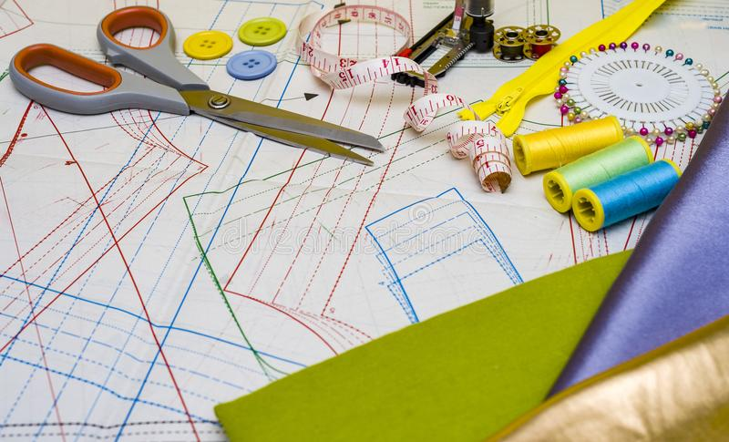 Pattern cutting and sewing stock image. Image of accessories - 112584599