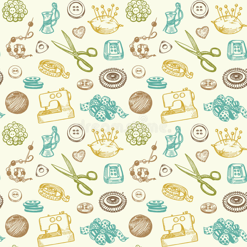 Free Sewing And Needlework Seamless Pattern Vector Royalty Free Stock Photography - 30210167