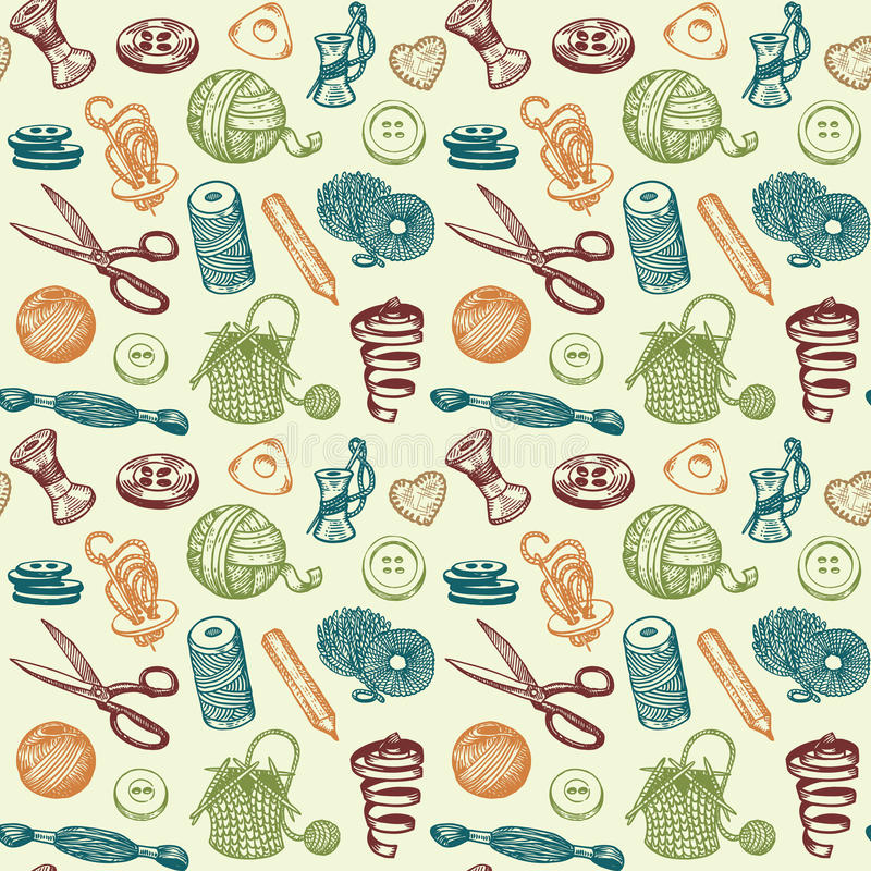 Free Sewing And Needlework Seamless Pattern Vector Royalty Free Stock Image - 30213656
