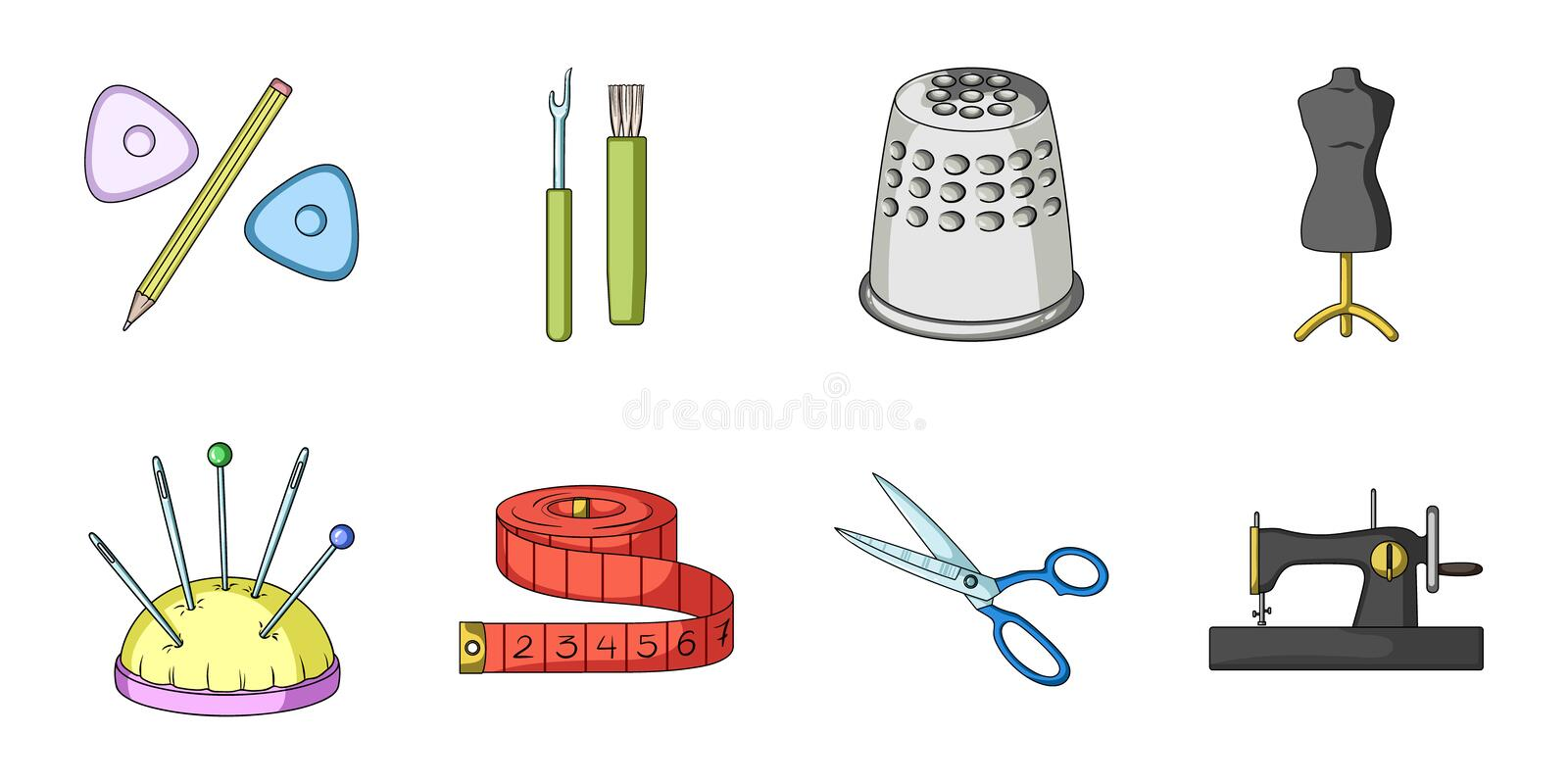 Sewing, atelier icons in set collection for design. Tool kit vector symbol stock web illustration. royalty free illustration