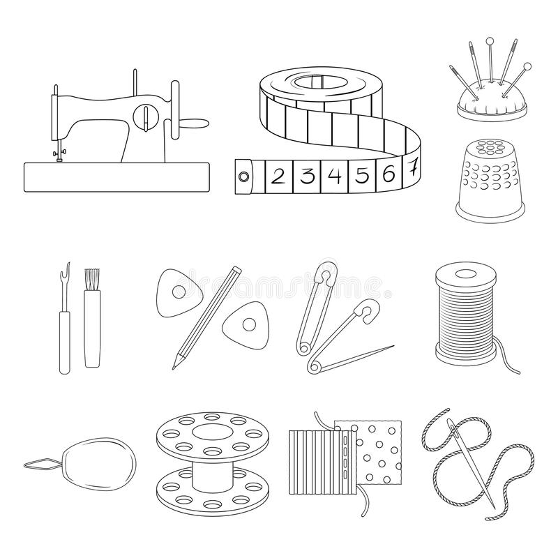 Sewing, atelier outline icons in set collection for design. Tool kit vector symbol stock web illustration. stock illustration