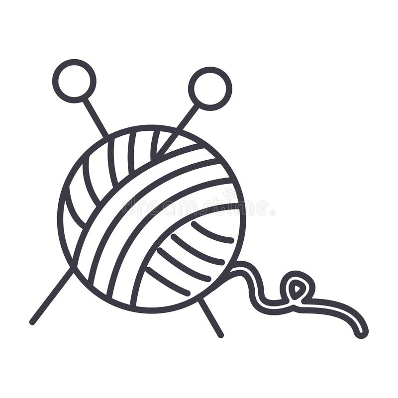 Line Drawing Yarn : Sewing ball of yarn knitting needles vector line icon