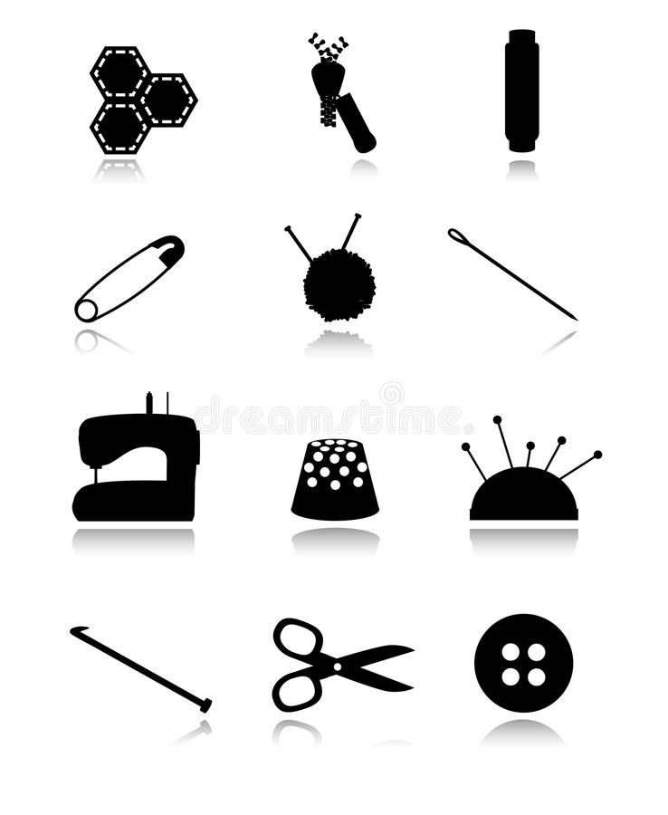 Download Sewing black icons stock vector. Image of colorful, fabric - 33144038