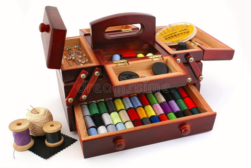 Download Sewing box stock photo. Image of leather, tailor, reel - 17576474