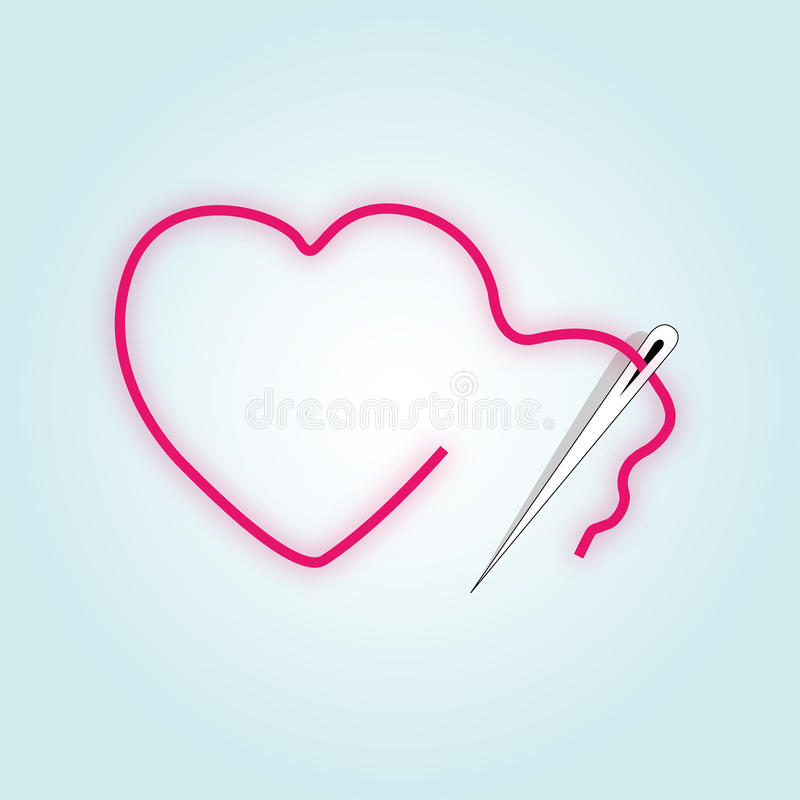 Download Sewing Broken Red Heart Royalty Free Stock Photos - Image: 19278608