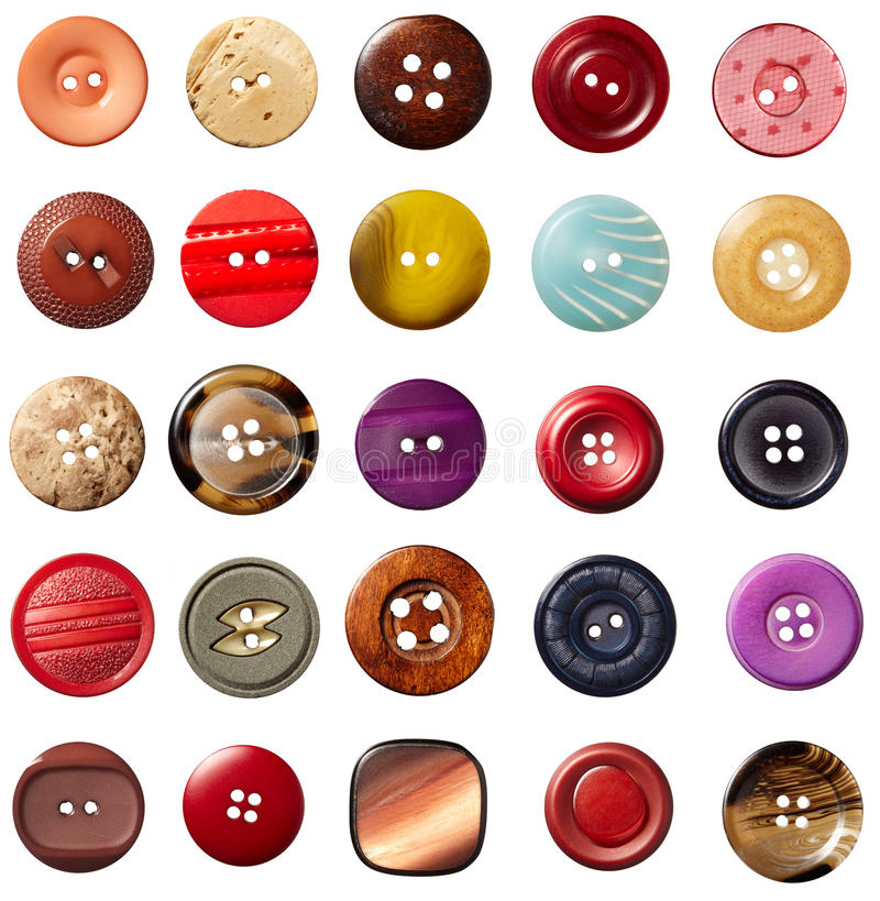 Sewing button clothing. Collection of various sewing button on white background. each on is shot separately vector illustration