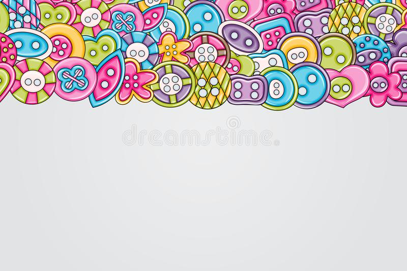 Sewing buttons handmade craft concept. 3d cartoon doodle background design. Sewing buttons handmade craft concept in 3d cartoon doodles background design. Hand vector illustration