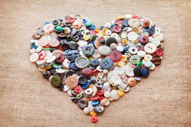 Download Sewing buttons heart stock photo. Image of cloth, fashion - 18456818