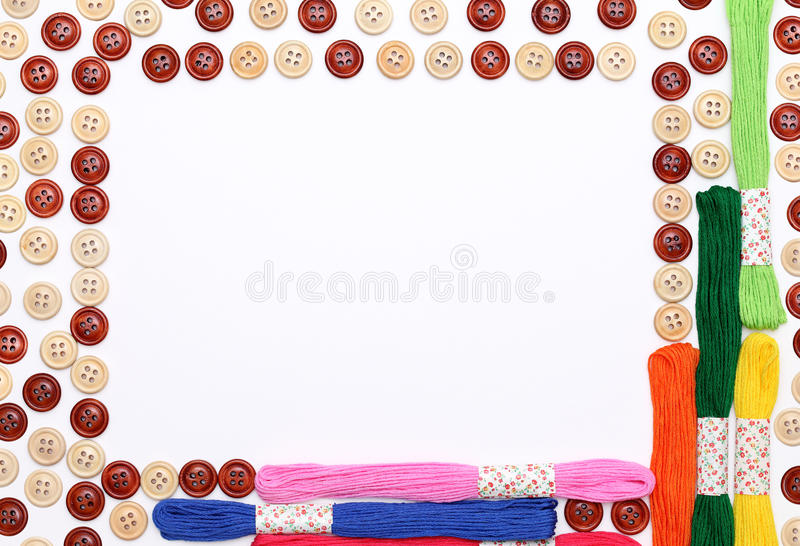 Sewing buttons and threads stock image