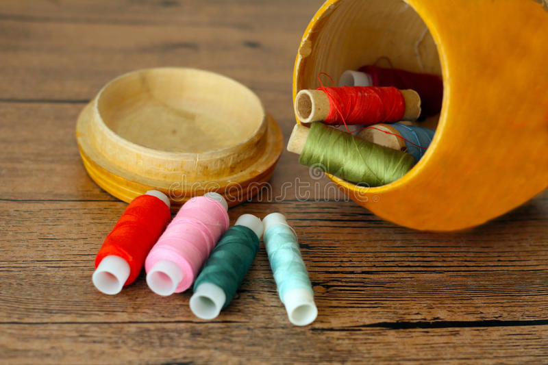 Sewing casket with thread colorful balls royalty free stock photo