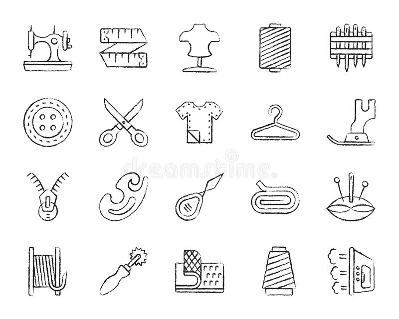 Sewing charcoal draw line icons vector set royalty free illustration