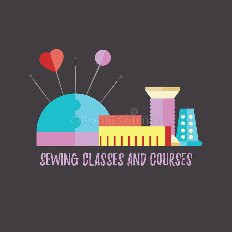 Sewing classes and courses stock illustration