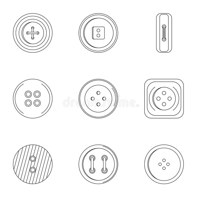 Sewing clothes button icon set, outline style vector illustration