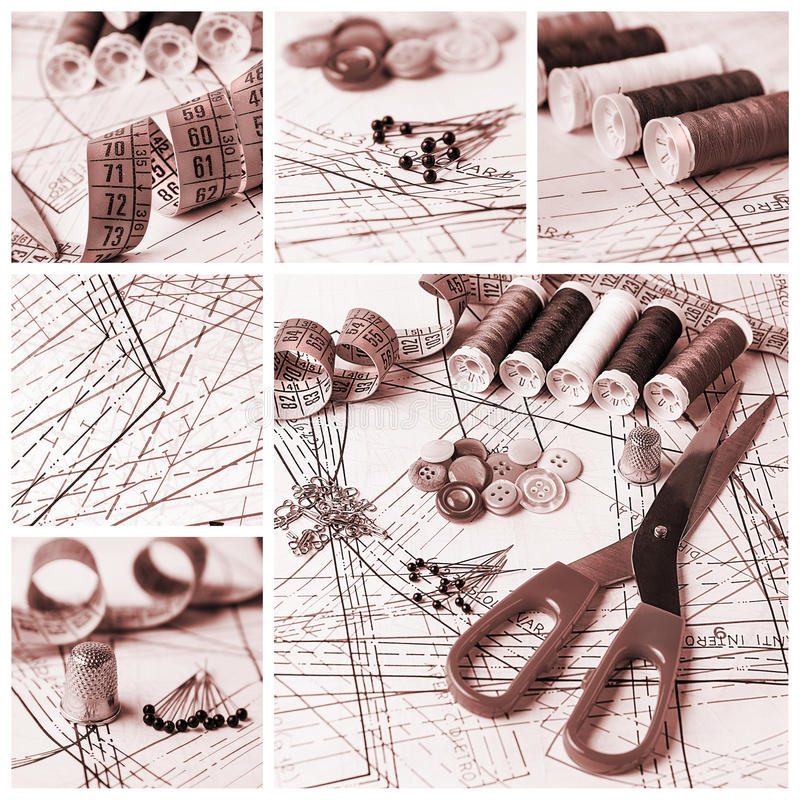 Sewing collage stock image