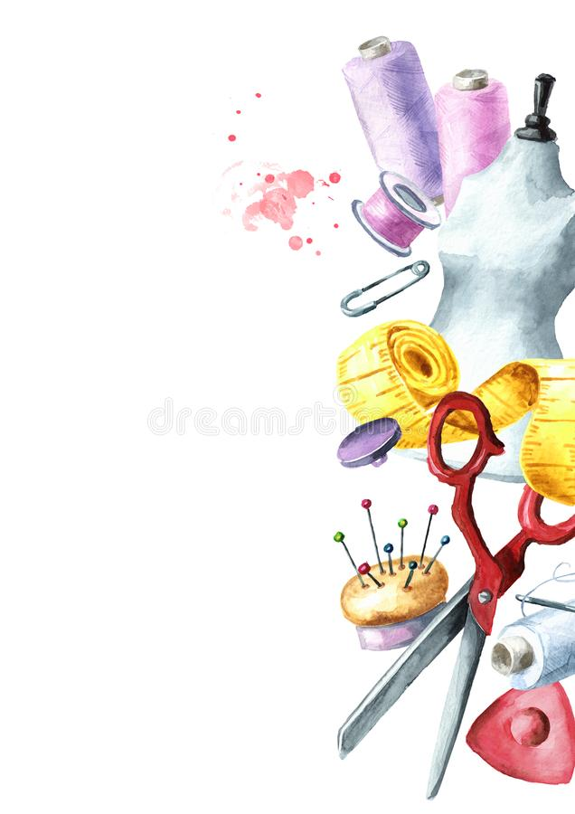 Sewing concept. Border. Tailor scissors, measuring tape, a needle, a thimble, a spool of thread, dummy, button, chalk, pins. vector illustration