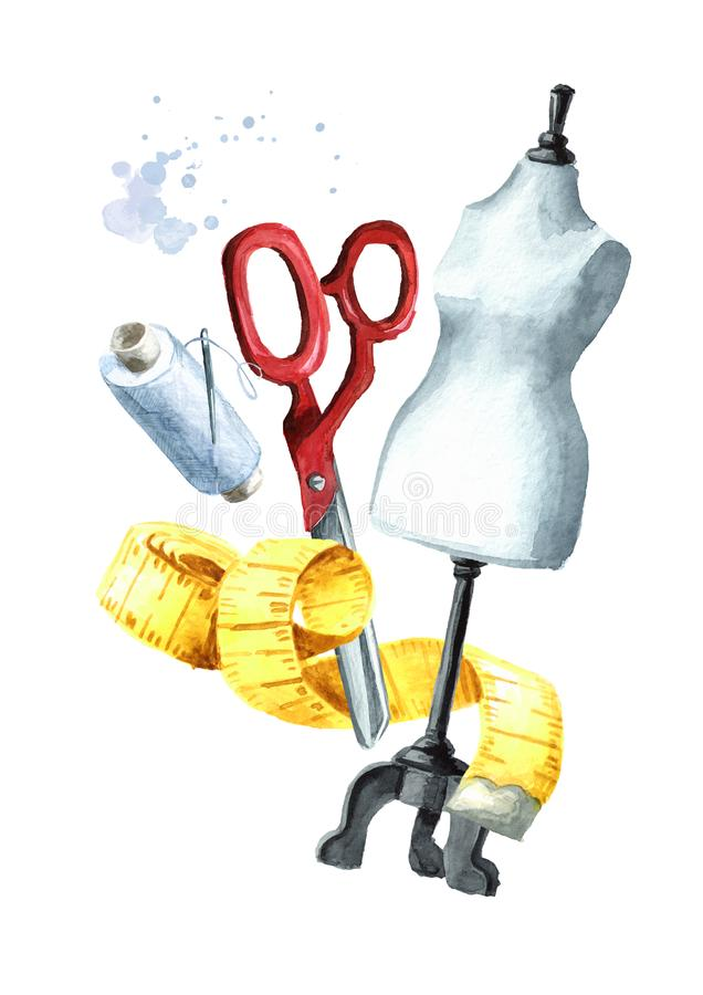 Sewing concept. Tailor scissors, measuring tape, a spool of thread and dummy. Watercolor hand drawn illustration isolated on white. Background royalty free illustration