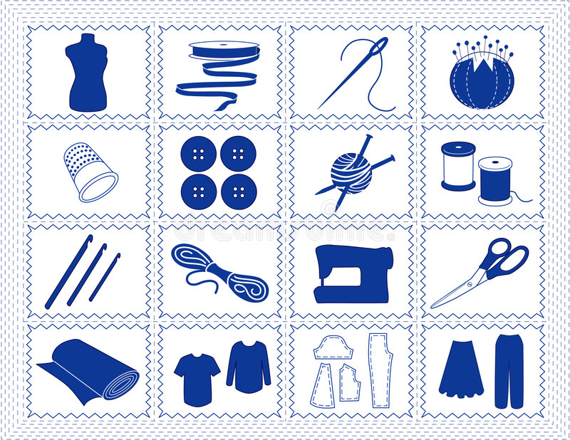 Sewing & Craft Icons, Blue Stitchery Stock Images