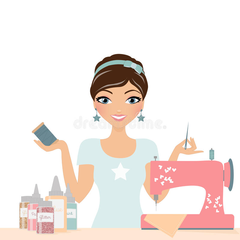 Sewing crafting woman. Woman crafter with sewing machine royalty free illustration
