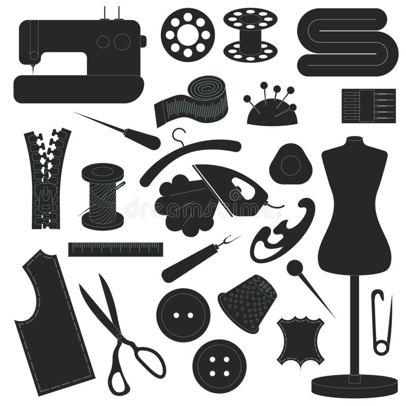 Collection of sewing inventory vector illustration
