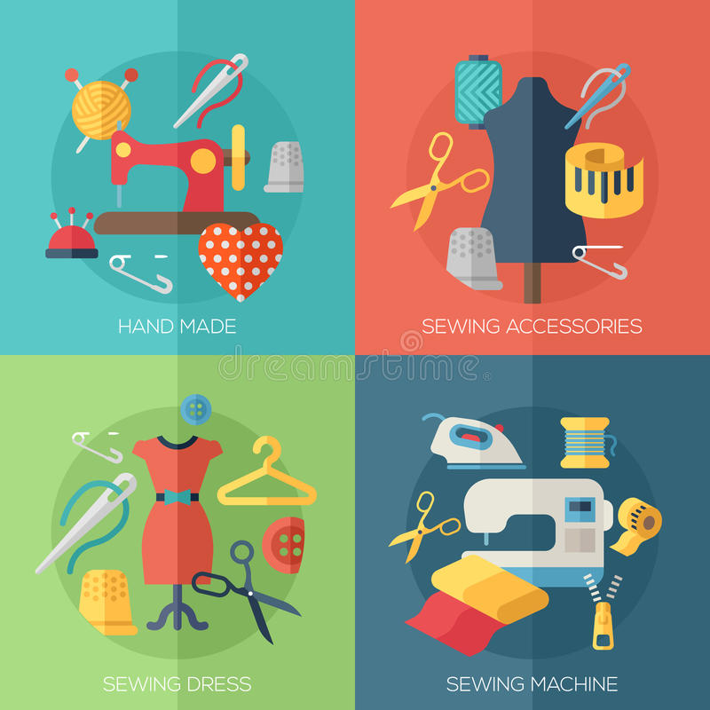 Sewing dress, accessories, hand made icons vector illustration