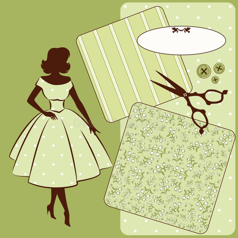 Sewing elements with womans silhouette vector illustration