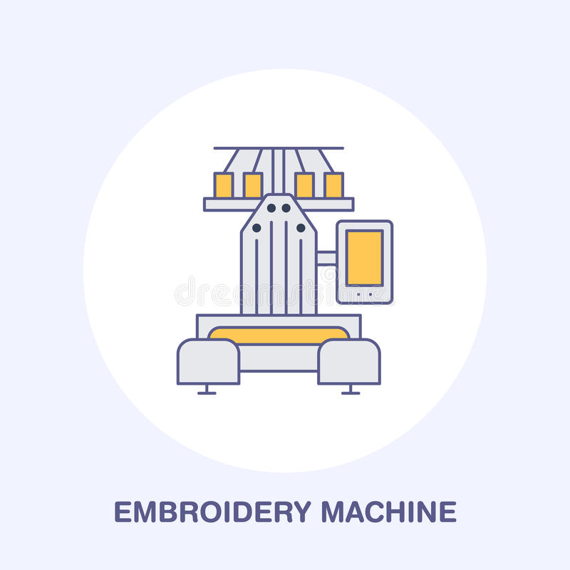 Sewing embroidery machine flat line icon, logo. Vector colored illustration of tailor supplies for hand made shop or. Dressmaking service stock illustration