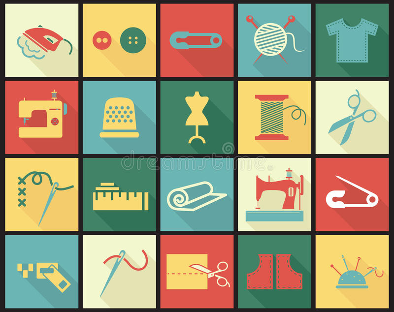 Sewing equipment icons set with thimble, needle. And fabrics vector illustration in colored squares with long shadows royalty free illustration