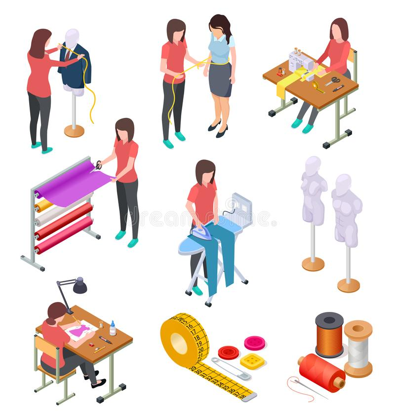 Sewing factory isometric set. Textile clothing manufacturing with workers and machinery. Industrial sewing 3d collection. Tailoring and designer, mannequin and stock illustration