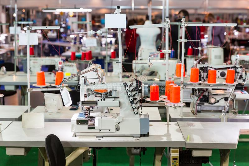 Sewing factory, nobody, overlock machines royalty free stock photography