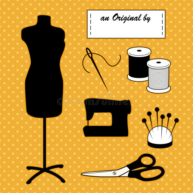 Sewing Fashion Model Mannequin, Do It Yourself Accessories, Gold Polka Dot Background royalty free illustration