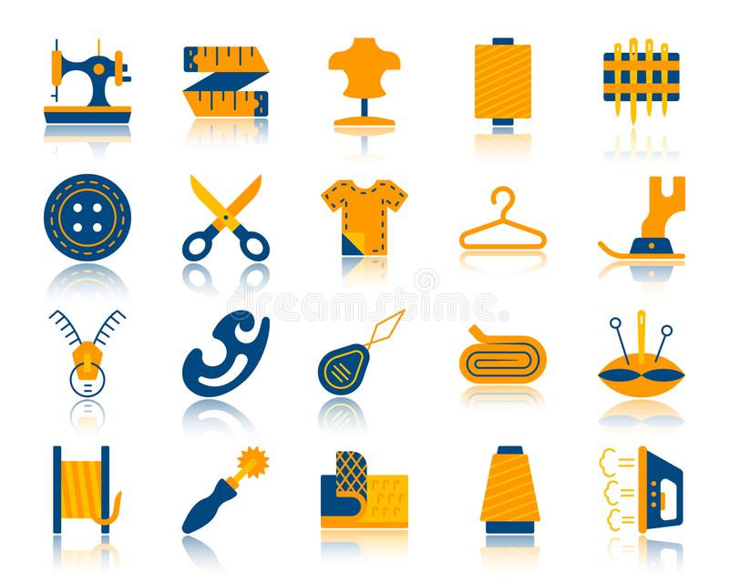 Sewing simple flat color icons vector set royalty free illustration
