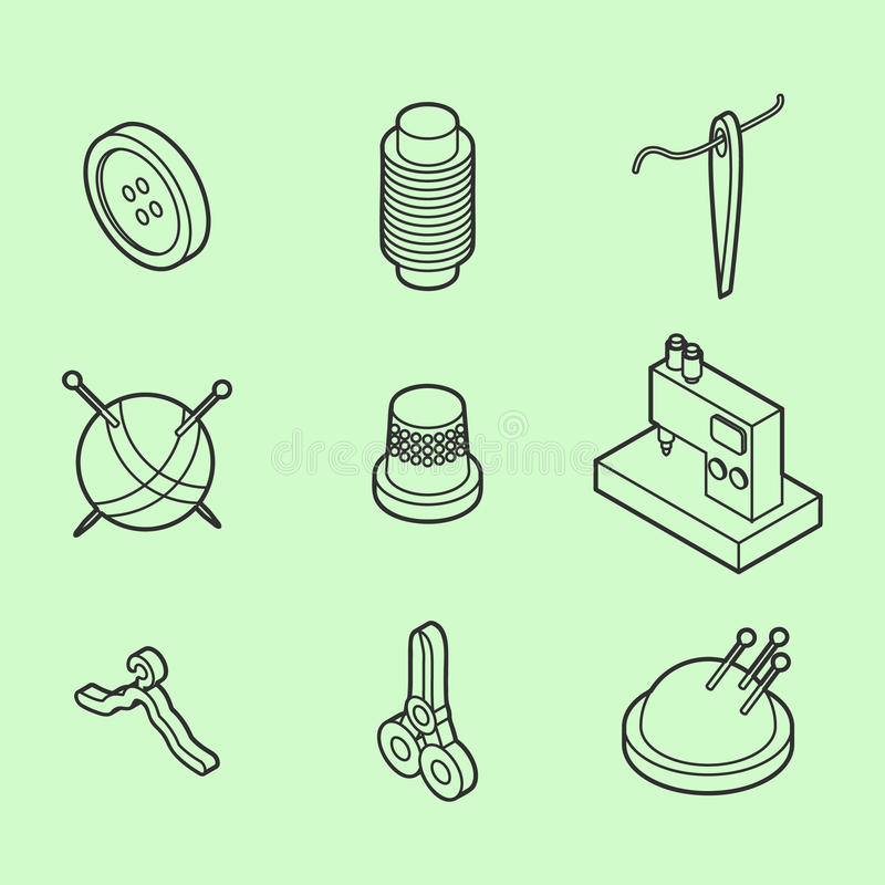 Sewing flat outline isometric icons royalty free illustration