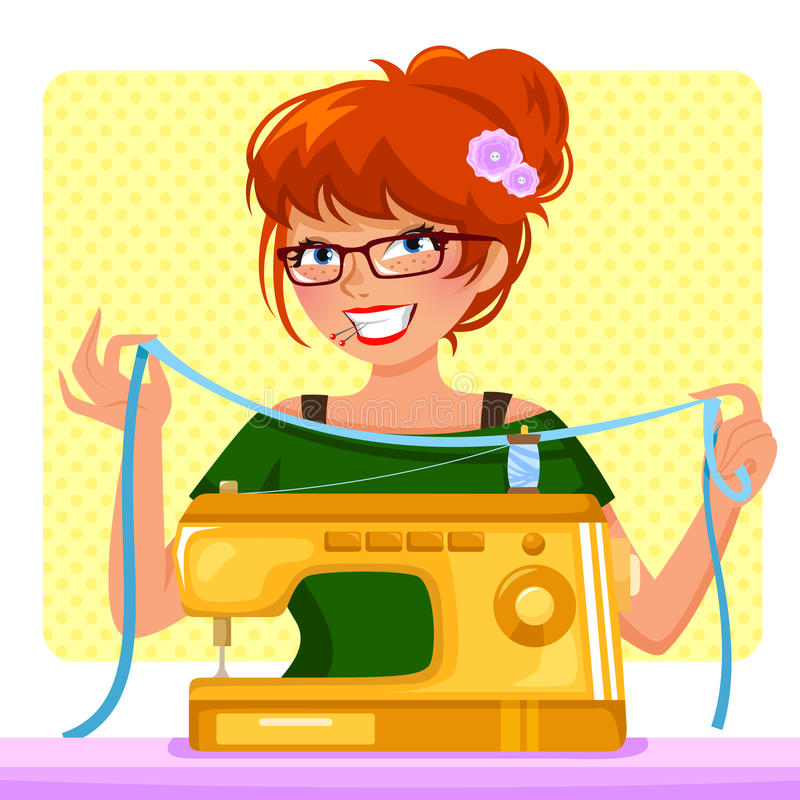 Sewing girl. Girl sewing with her sewing machine stock illustration