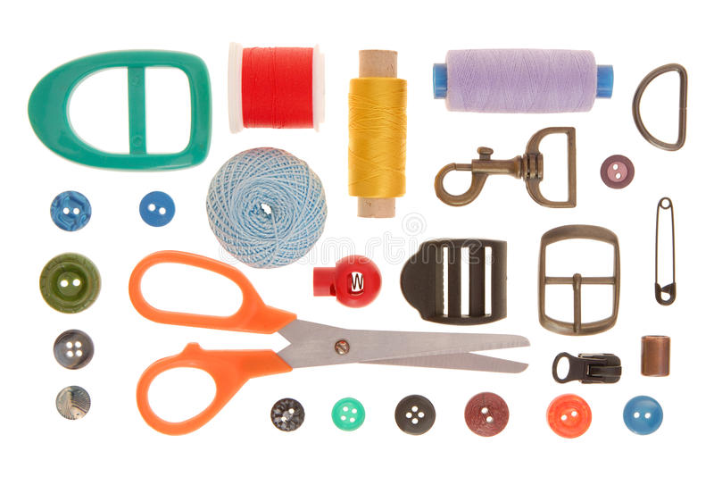 Sewing goods. The composition is out of sewing goods, items royalty free stock photo