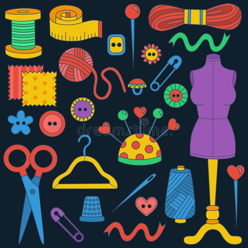 Sewing hand made icons doodle colorful vector set stock illustration