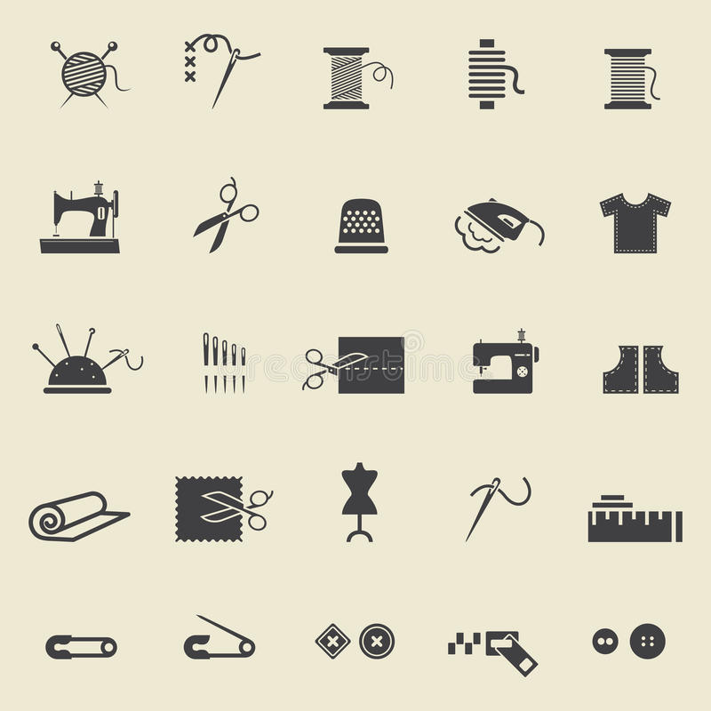 Sewing icons. Sewing equipment and needlework. Black icons for sewing, knitting, needlework, pattern. Small device. Vector illustration