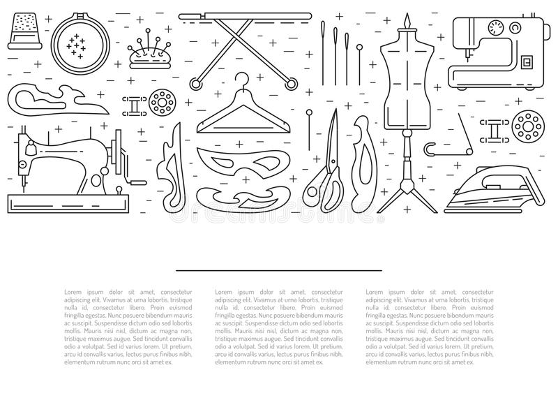 Sewing icons outline vecto royalty free illustration