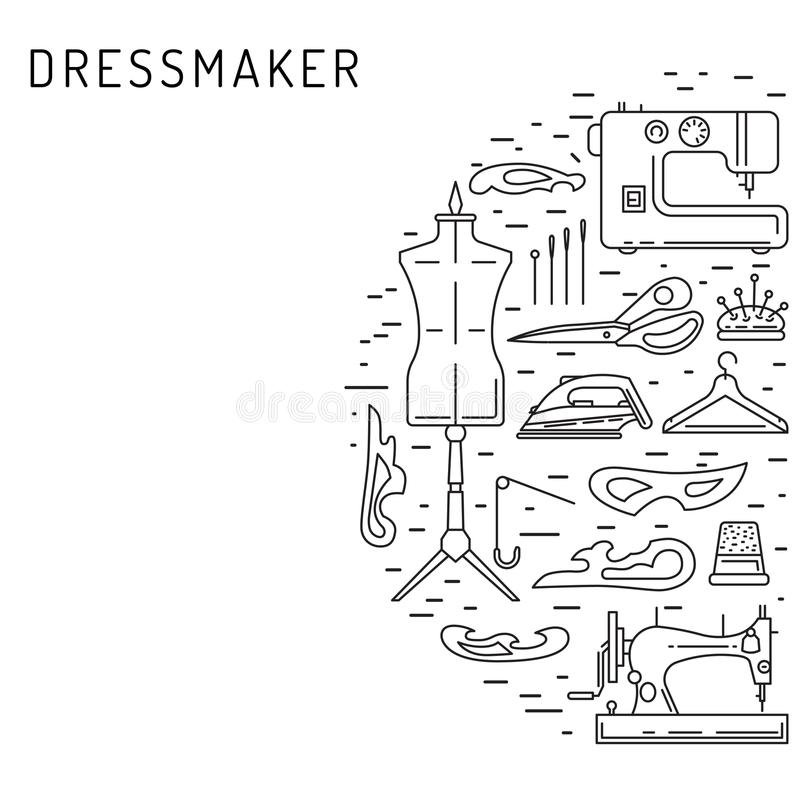 Sewing icons outline vector stock illustration